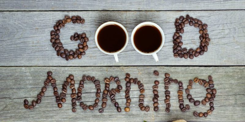 good morning written in coffee beans coffee mask